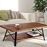 Olee Sleep 46' Cocktail Wood & Metal Legs Coffee Table/End Table/Side Table/Dining Table/Sofa Table/TV Table/Vanity Table/Office Table/Computer Table, Rustic Brown