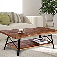 Olee Sleep VC18TB01S Natural 46 Cocktail Table with Metal Legs, Standard, Rustic Brown
