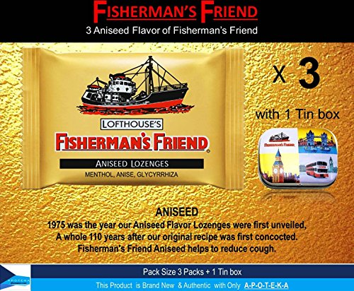 Fisherman's Friend Lozenges Aniseed Flavor not found in Fisherman's Friend U.S. (Pack 3 With 1 Tin box collectibles set) Strong Taste and Extra Strong Cough Suppressant Lozenges