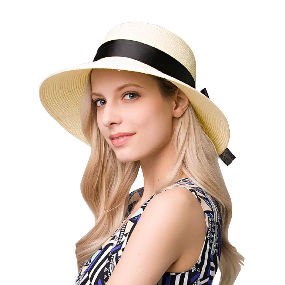 9bc3bea73 EINSKEY Ladies Sun Hat Panama Straw Hat Packable Wide Brim Summer Beach Hat  Fedora Trilby Hat for Women UPF 50