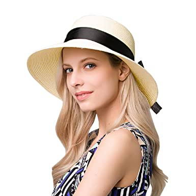 d92ca664 EINSKEY Ladies Sun Hat Panama Straw Hat Packable Wide Brim Summer Beach Hat  Fedora Trilby Hat for Women UPF 50: Amazon.co.uk: Clothing