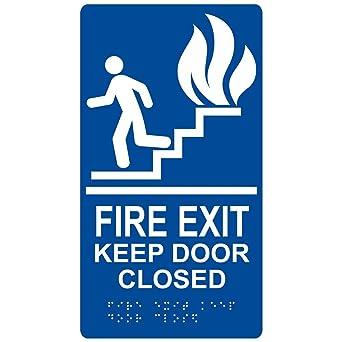 Amazon.com: Señal de puerta cerrada con salida de incendio ...