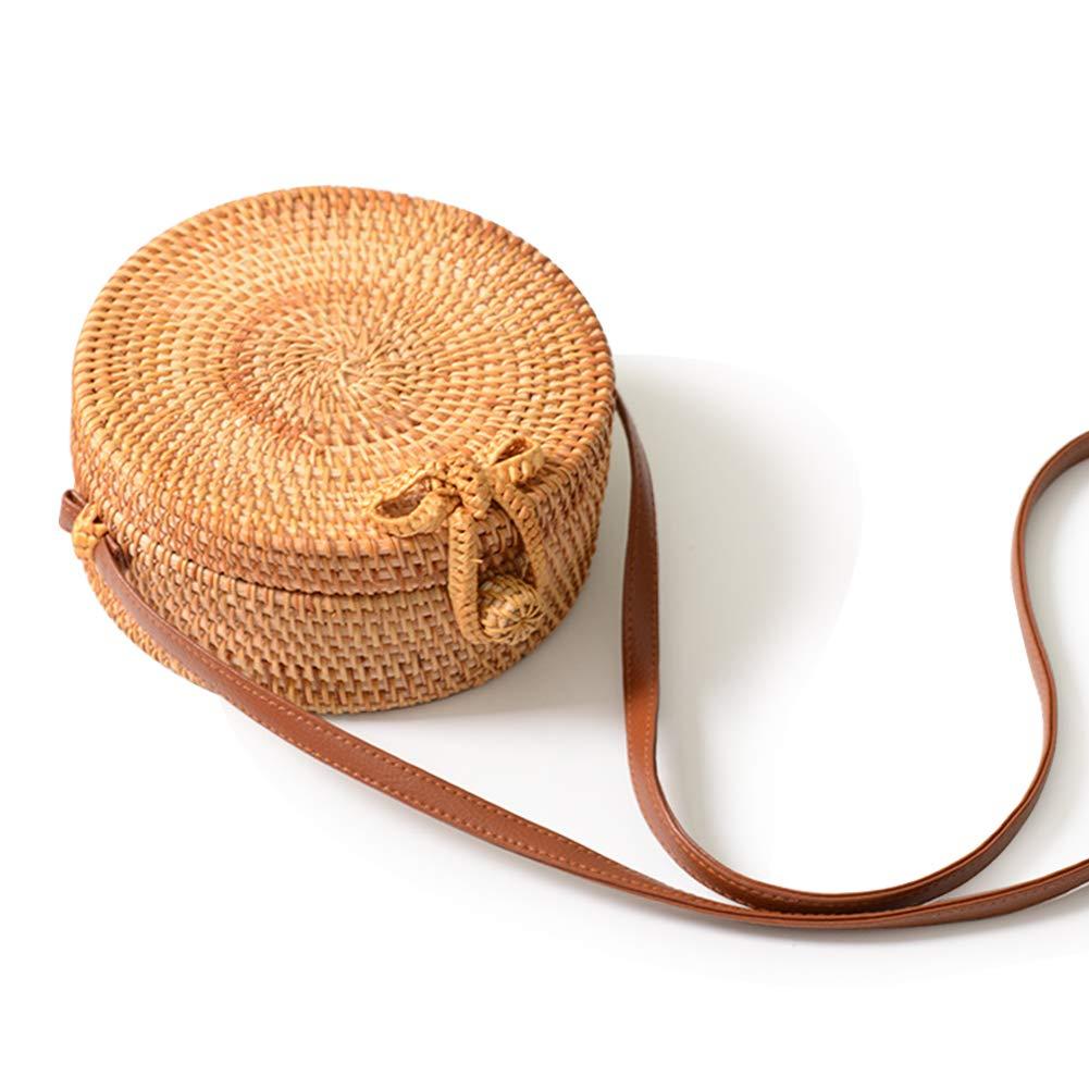 Women's Bali Rattan CrossbodyBags Handmade Straw Bags Bohemian Shoulder Bag (Round)