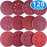 AUSTOR 120 Pieces Sanding Discs 5 Inch 8 Holes Hook and Loop Sandpaper Disc 40/60/ 80/100/ 120/150/ 180/240/ 320/400/ 600/800 Grit Assortment for Random Orbital Sander