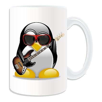 Disfraz de Pingüino de regalo con mensaje personalizado – Taza, diseño de guitarra eléctrica grande