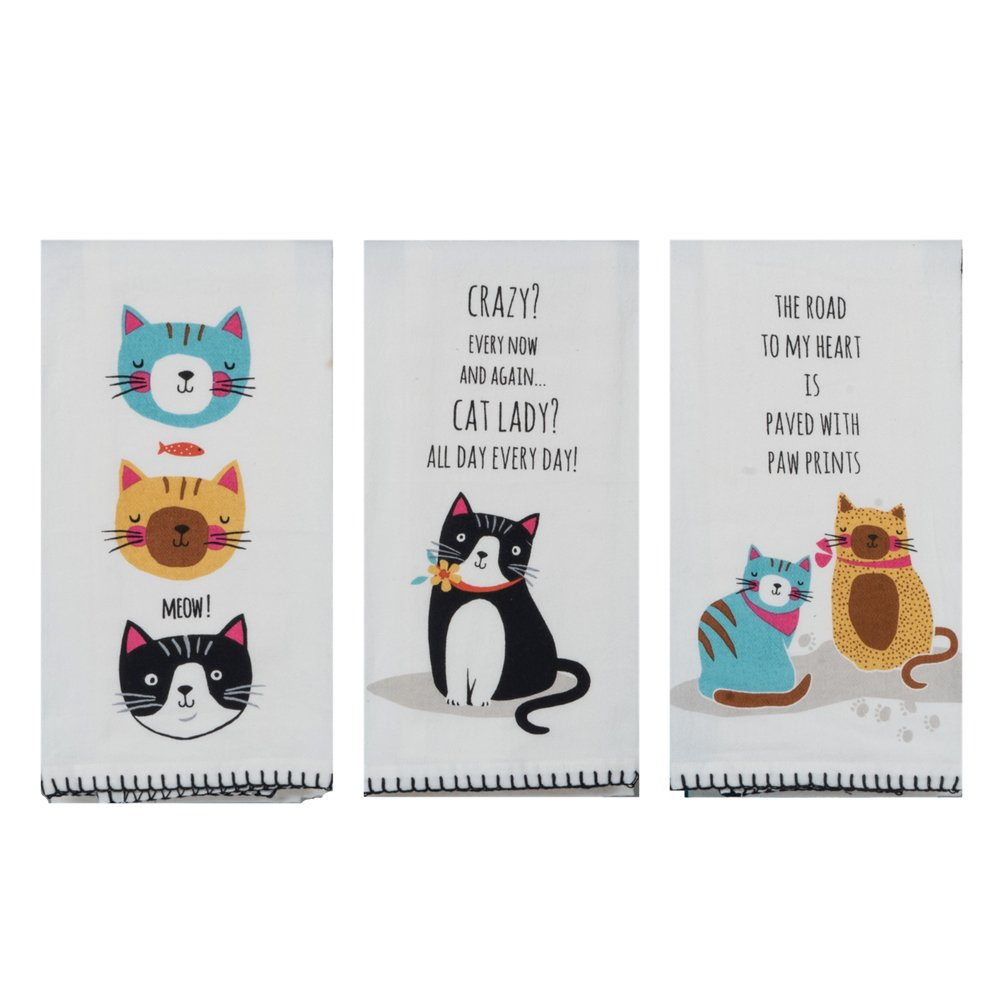 18th Street Gifts Cat Lover Flour Sack Dish Towels - Crazy Cat Lady, Paw Prints, Meow - Set of 3