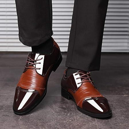 Zapatos Oxford Cómodos Casual para Hombre,ZARLLE Oxford con Cordones Brogue Vestir Derby Informal Negocios Boda Calzado Respirable Negro Marrón 38-47