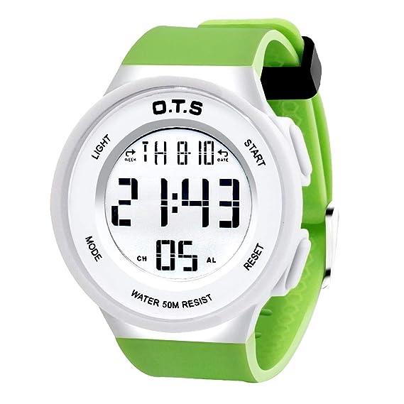 OTS - Reloj Deportivo para Niños Digital Resisitente al Agua Multifuncional con Luz Alarma Electrónico Infantil Regalo para Niñas - Verde: Amazon.es: ...