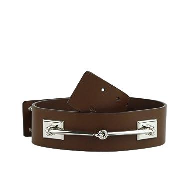 0ad65320173 Gucci Women s Silver Horsebit Nut Brown Leather Horsebit Waist Belt 363024  2548 (75 30