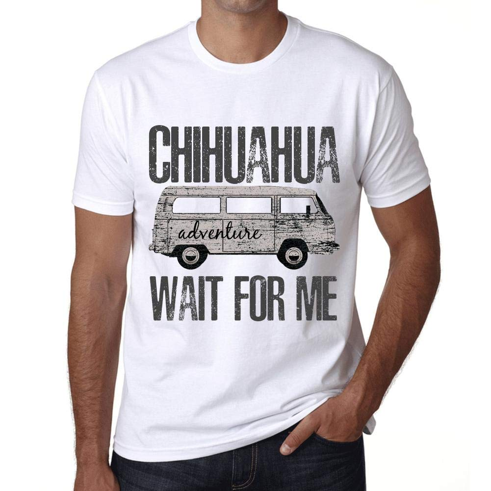 c9721e76 Amazon.com: One in the City Men's Tee Shirt Vintage T Shirt Chihuahua Wait  for Me White: Clothing
