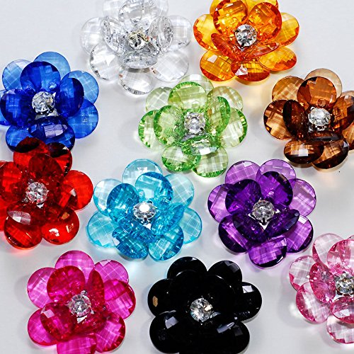 Valley Mall Assorted Acrylic Flower Lotus Gems with Rhinestone Center for Crafts DIY Embellishments (10) (Acrylic Flowers)