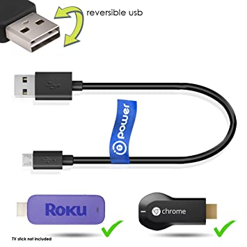 T POWER USB Power Cable for Roku Streaming Stick, HDMI (3500) 3500XB, 3600R  Google Chromecast V1, V2 (2015),Designed to Power Your Roku and Chromecast