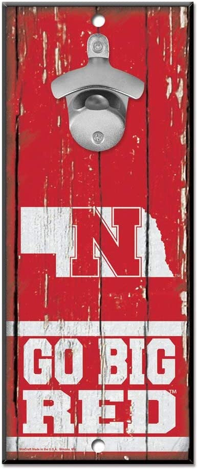 "WinCraft NCAA Nebraska Cornhuskers 5x11 Wood Sign Bottle Opener, Team Colors, 5""x11"""