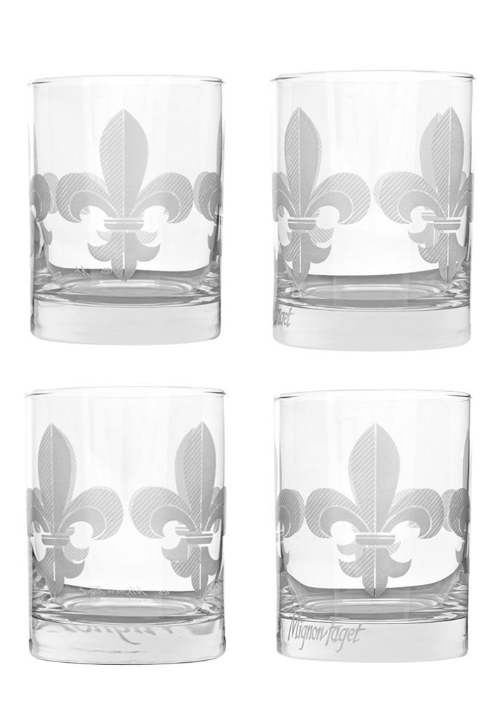 Mignon Faget Fleur de Lis Double Old Fashioned Glasses, Set of 4