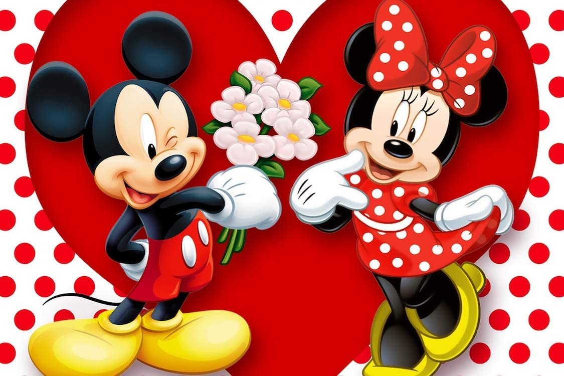 Amazon Com Art Mickey Minnie Mouse Flowers And Romance Horizontal Poster 36 X 24 Posters Prints