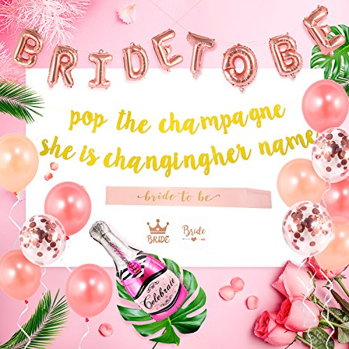 Bachelorette Party Decorations Kit|Bachelor Party Bridal Shower Supplies | Bride to Be|Champagne Balloons, Sash, Bachelorette Tattoos, Gold Glitter Banner | Pop The Champagne She is Changing Her Name