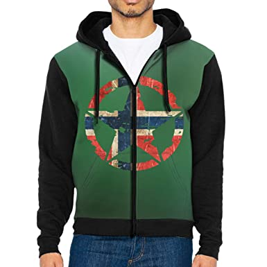 Amazon.com  Vintage Aged and Scratched Norwegian Flag- Army Military Star  Men s Sleeve Hoodie Zip Up Sportswear 647689201