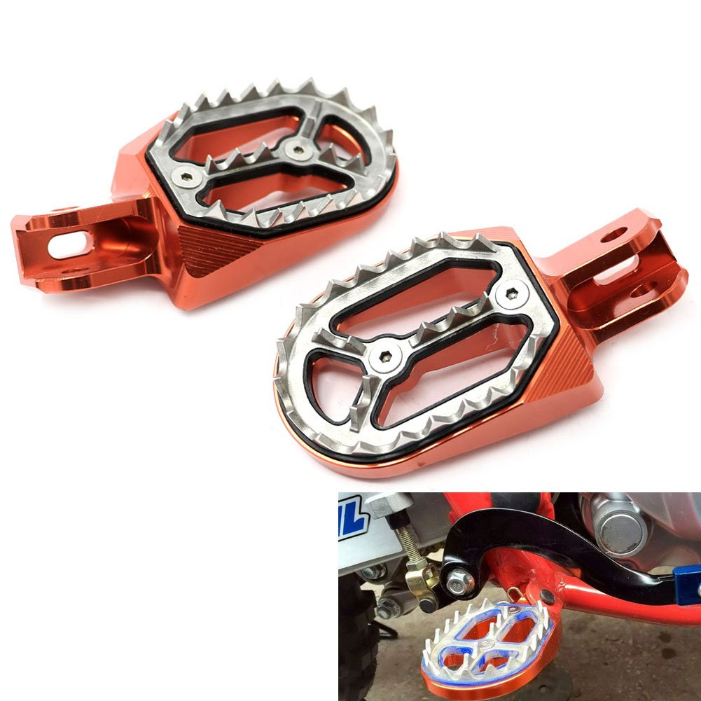 Alpha Rider Motorcycle Billet CNC Wide Foot Pegs Pedals Foot Rests For Honda Offroad CR125 / CR250 2002 - 2008 | CRF150R 2007 - 2015 | CFR 250X / 250R 2004 - 2015 | CRF 450X / 450R 2002 - 2015 Orange
