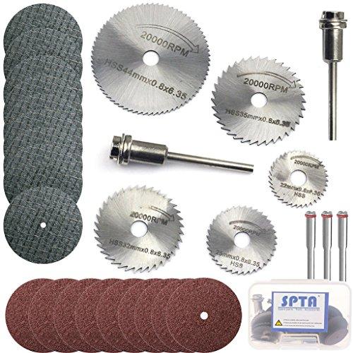 SPTA HSS Saw Blades Rotary Tool Circular Saw Blade & Resin Metal Cutting Blade Wheels Disc Set for Proxxon Dremel Rotary Tool Pack Of (Ceramic Circular Brush)