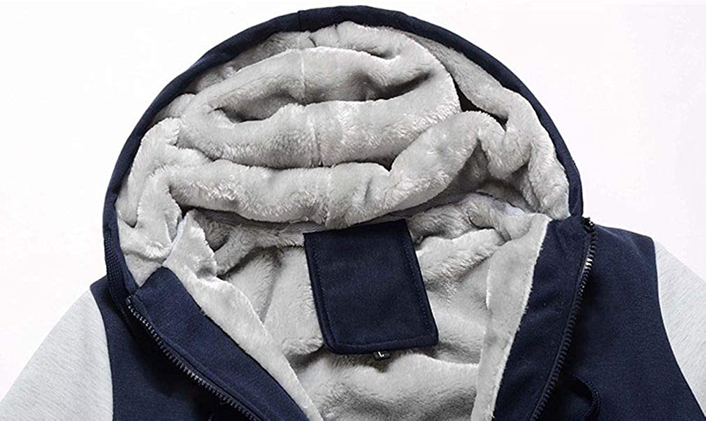Lukitty Mens Workout Hooded Fleece Hoodie Jackets Full Zip Warm Thick Coats