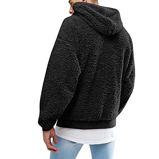 c87bf11d72 Mens Hoodies Tall, Men Hooded Casual Long Sleeve Solid Pullover Plush Hoodie  Active Hoodies,