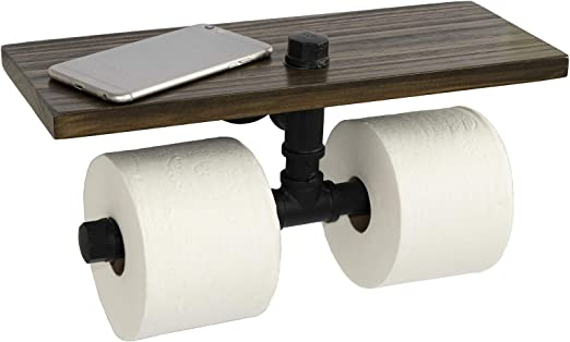 Rustic Industrial Toilet Paper Roll Holder Pipe Shelf Floating Bathroom Home US
