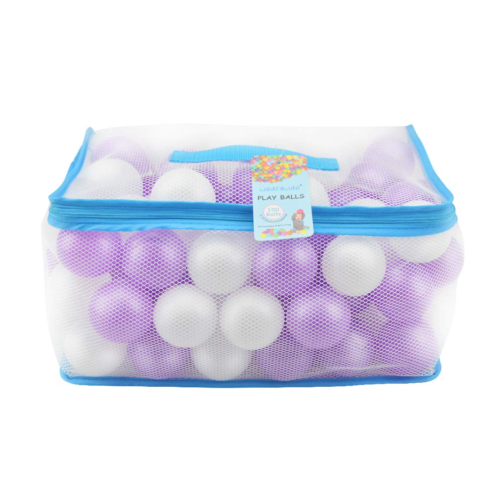 Lightaling 100pcs White & Purple Ocean Balls & Pit Balls Soft Plastic Phthalate & BPA Free Crush Proof - Reusable and Durable Storage Mesh Bag with Zipper