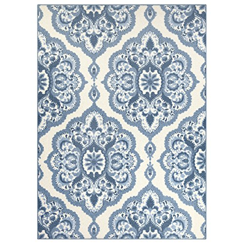 Maples Rugs Area Rugs - Vivian 5 x 7  Large Area Rugs [Made in USA] for Living Room, Bedroom, and Dining Room, Blue
