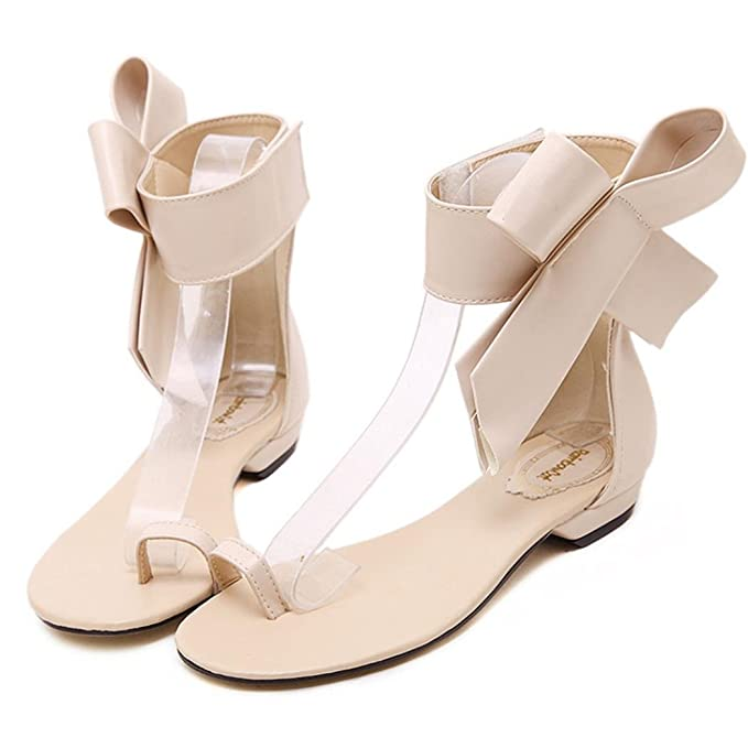 56c615e9c498b Amazon.com   Luckylin Women s Simple Cute Bow-Knot Low Heel Sandals Summer  Flat Shoes   Sports   Outdoors