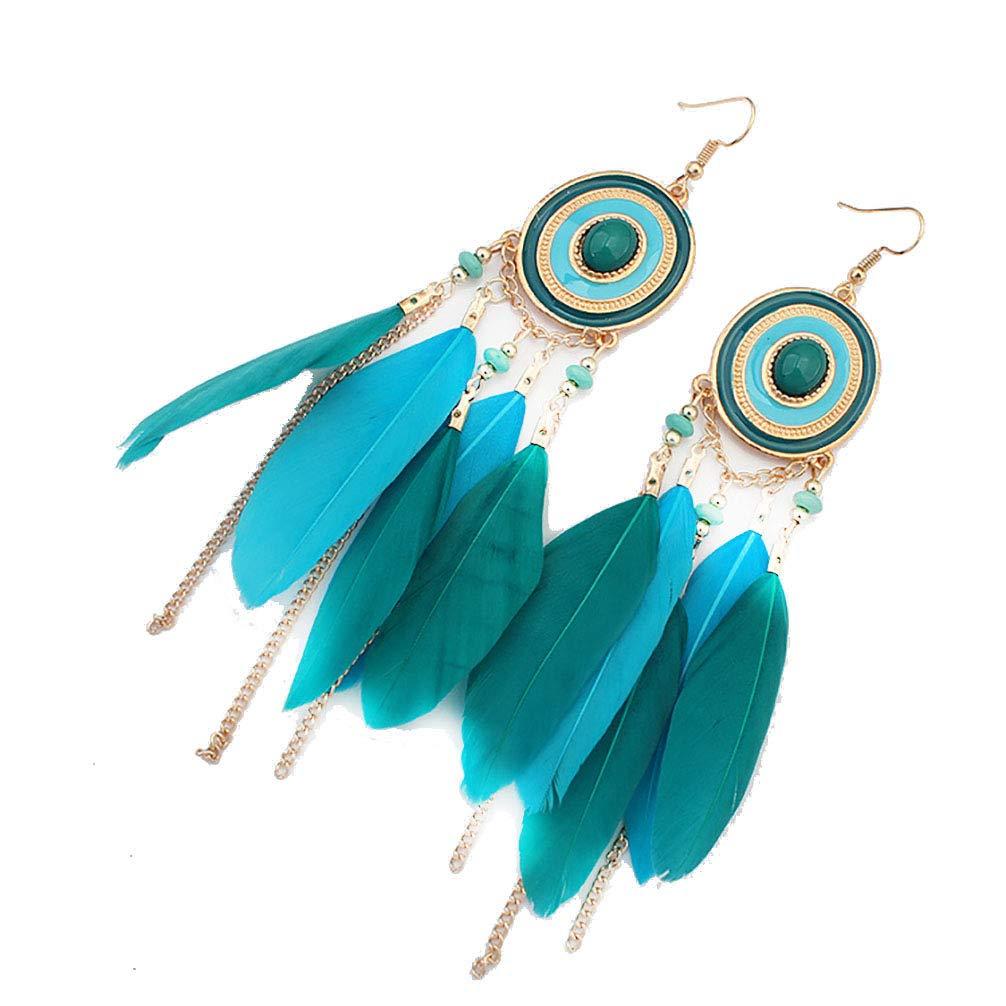 AODEW Women Girls Long Feather Earring Boho Handmade Dangle Hook Earrings