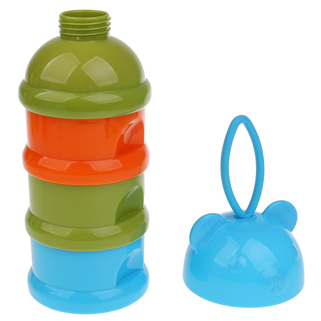 MonkeyJack Portable Baby Feeding Milk Powder Food Box Storage Food Bottle Container - Bear Blue, as described