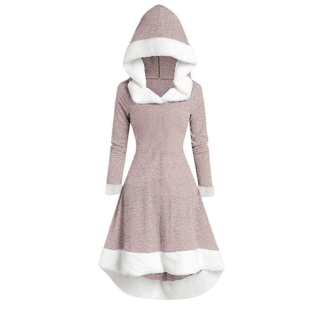 QIUUE Ladies Autumn Winter Hooded Dress Retro Long-Sleeved Plush Stitching Retro Dress Evening Dress Party Dress Pink by QIUUE