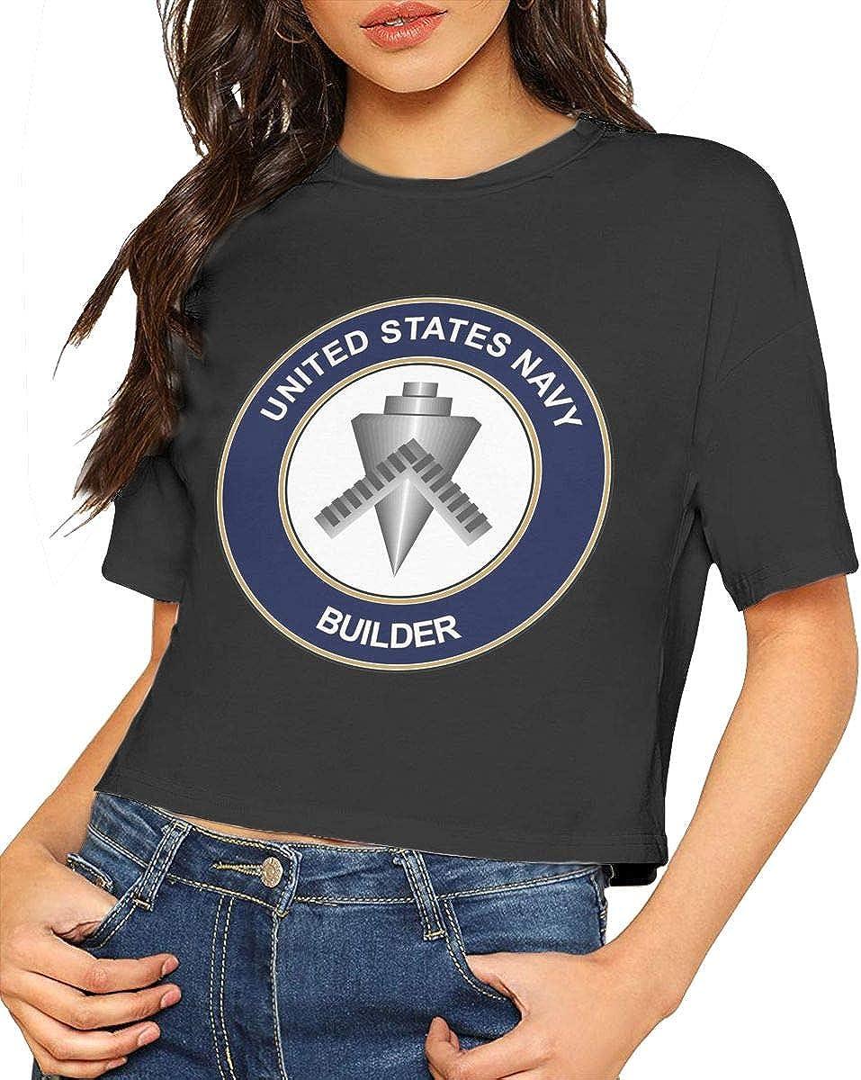 U.S Navy Builder BU Crop Tops for Ladies Round Neck T-Shirt