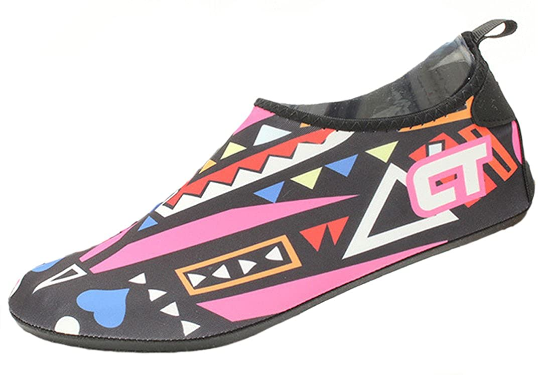 iDuoDuo Kids Quick Drying Graffiti Aqua Water Shoes Barefoot Socks Beach Floor Turf Toddler//Little Kid