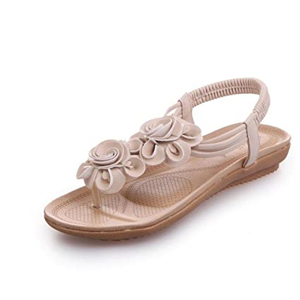 af768f175 Flat Sandals Floral Sweet Women Elastic Flat Bottom Slippers Sandals Women  Anti-Slip Sandals Slippers