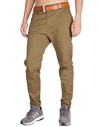 9a16c718decbf4 ITALY MORN Men s Chino Jogger Twill Flat Front Casual Pants S Brown
