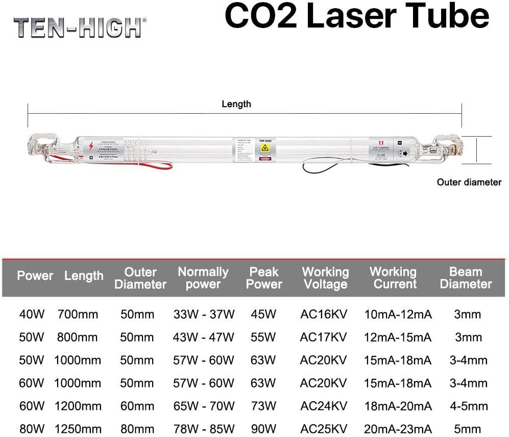 TEN-HIGH CO2 tubo laser in vetro per macchina da taglio e incisione laser TH-40WCO2LT