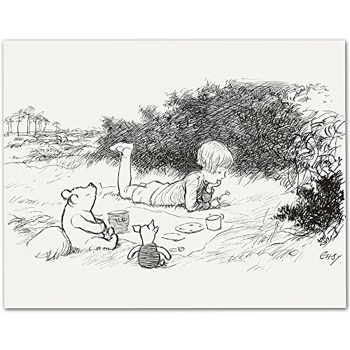 Picnic - Winnie the Pooh and Christopher Robin 11x14 Unframed Nursery Art Print (Winnie Pooh Crafts The)