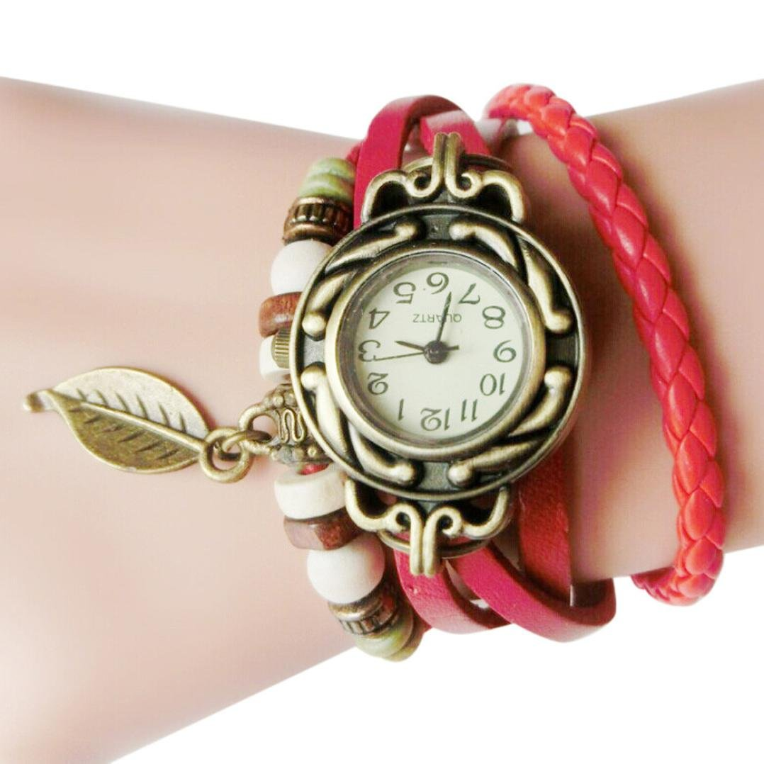 Hemlock Teen Girl's Watches, Women PU Leather Band Leaf Pendant Bracelet Watch Retro Wrist Watches (Red) by Hemlock (Image #1)