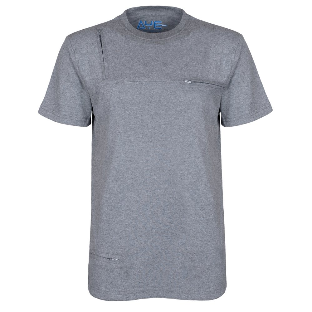 AyeGear T3 Tshirt With 3 Discreet Pockets, Premium Quality, Ultra Soft Touch Feel, Sports and Travel Tshirt, Grey L