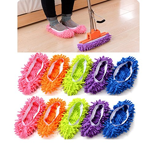 Catsayer Mop Slippers Shoes Cover, Soft Washable Reusable Microfiber Foot Socks Floor Dust Dirt Hair Cleaner for Bathroom Office Kitchen House Polishing Cleaning 10pcs (5 Pairs)