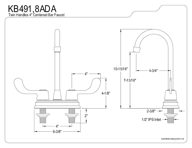 4-3//4 Kingston Brass 1062510 Magellan 4 Center Bar Faucet with Ada Blade Handle Polished Chrome 4-3//4 KB491ADA