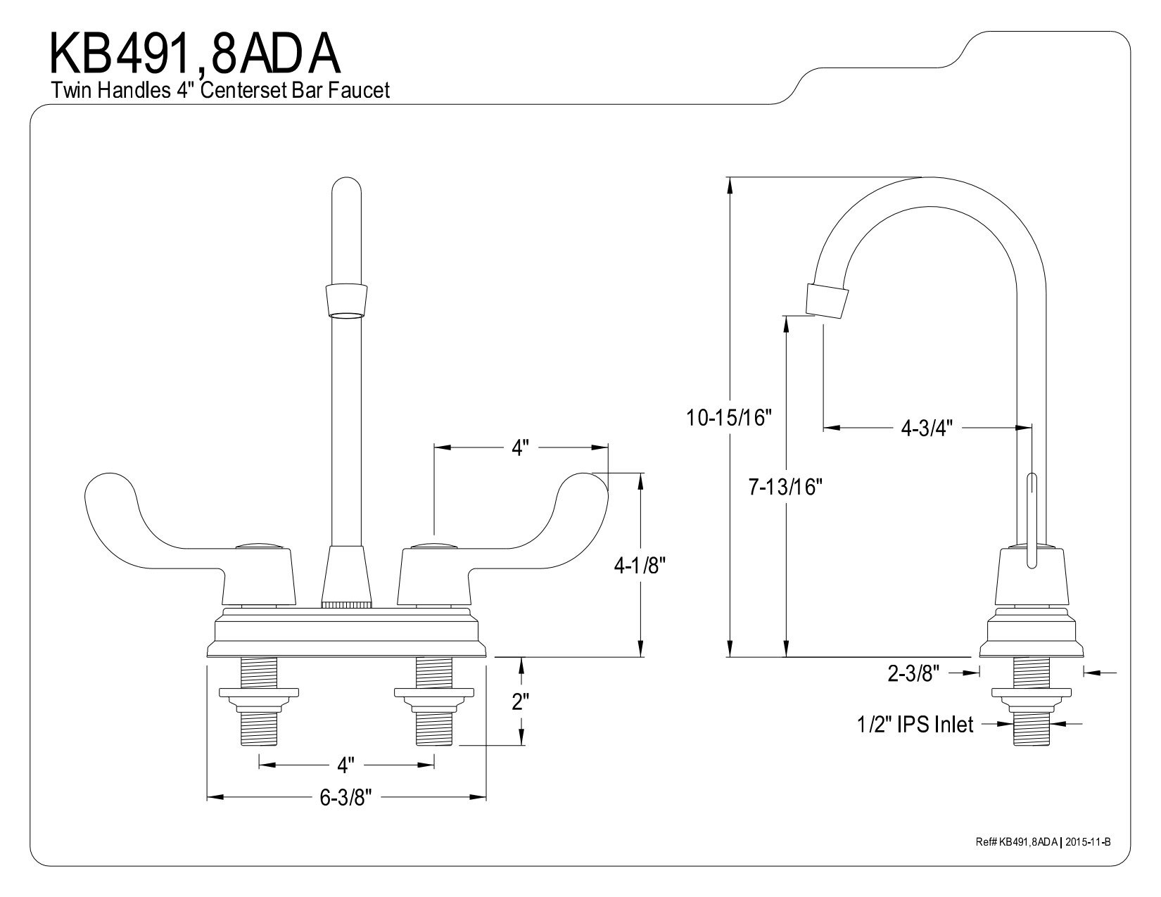 Kingston Brass 1062510 Magellan 4'' Center Bar Faucet with Ada Blade Handle, 4-3/4'', Polished Chrome by Kingston Brass (Image #2)