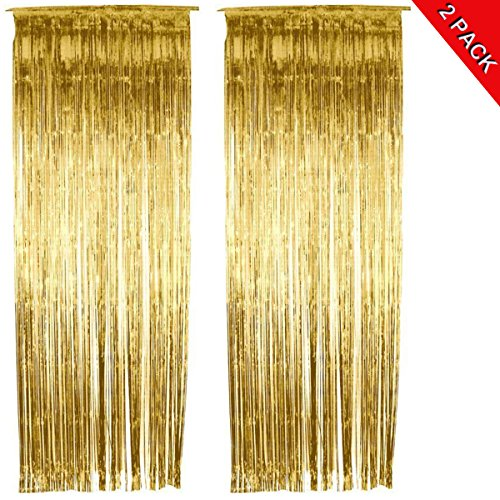 ANREONER 2 Pack Metallic Tinsel Curtain, 3.2 ft x 9.8 ft Foil Fringe Shiny Backdrop Photo Background for Birthday Party Prom Wedding Christmas Decoration, Best Xmas Supplies & Accessories-Gold -