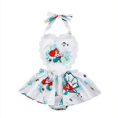 a9bbef9f6f0b Toddler Baby Kids Girls Mermaid Dress Strap Ruffle Sleeves Backless Summer  Party Dress Beach Wear Sundress