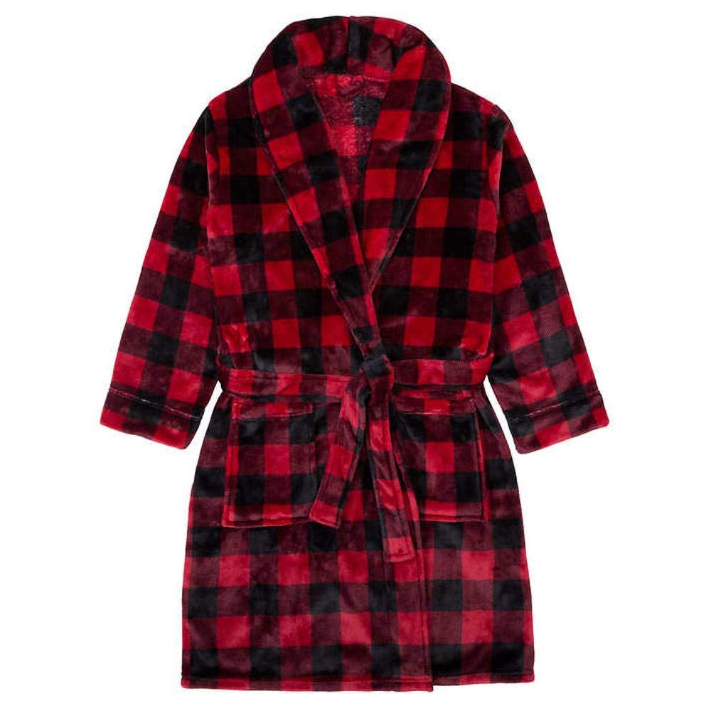 Buffalo Plaid Plush Bathrobe (Red & Black, S/M) 0965