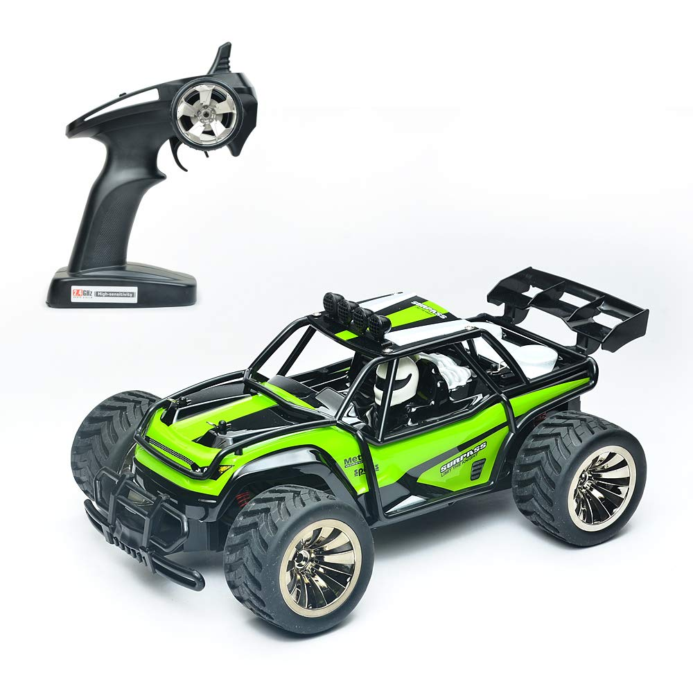 Demaxis Offroad RTR Rc Electric Cars, 2wd Rc Dune Desert Buggy, Rechargeable 2.4 Radio Remote Control Cars, Rc All Terrain Trucks 1/16 Scale Highest Speed 10 mph (Green)