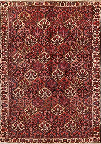 7X9 Hand-Knotted Oriental Rug Wool Geometric Bakhtiari Persian Area Rug Vintage Bakhtiari Hand Knotted Rug
