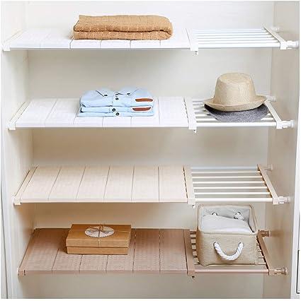 HyFanStr Estantería extensible para armario para armario, armario, estantes para armarios (longitud: 73 – 130 cm, ancho: 42 cm, blanco)