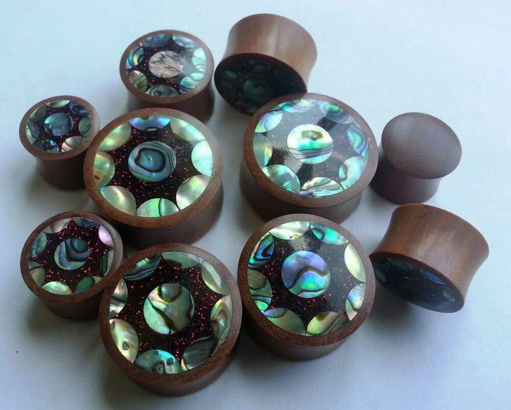 1 Pair Organic Handmade Sun Abalone Shell Red Metallic Glitter Resin Saba Wood Saddle Ear Plugs by Generic